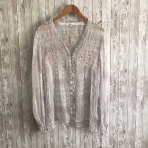Sundance silk white patterned  blouse